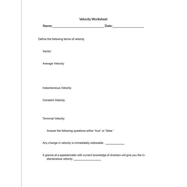 Velocity Acceleration Worksheets Answer Key