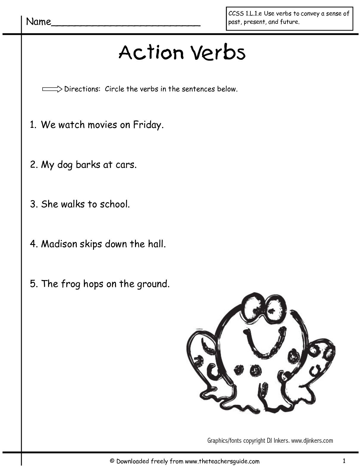 Verb Worksheets First Grade Free Library Download And Kindergarten
