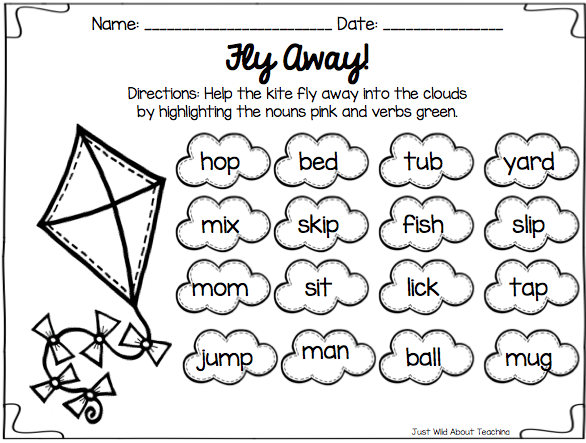 Verbs Worksheets For 1st Grade