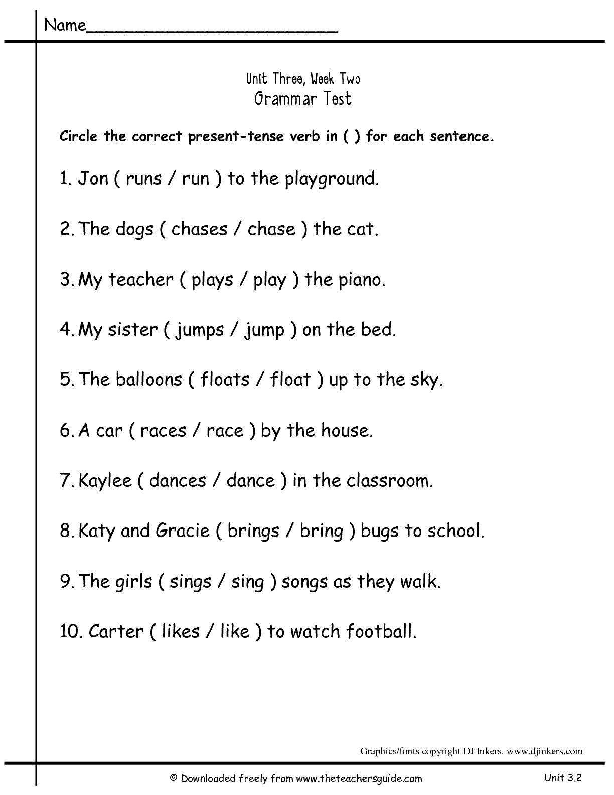Verbs Worksheets For First Grade