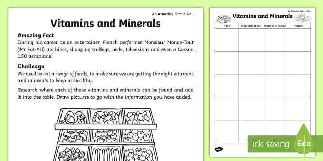 Vitamins And Minerals Worksheet   Activity Sheet