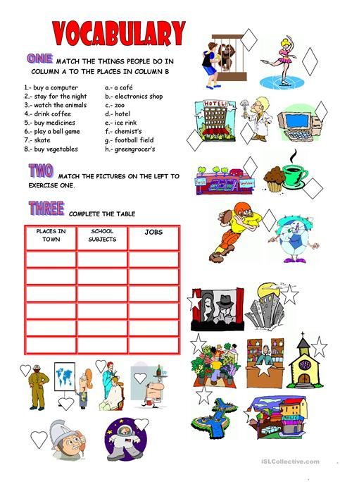 Vocabulary  Places, School, Jobs Worksheet
