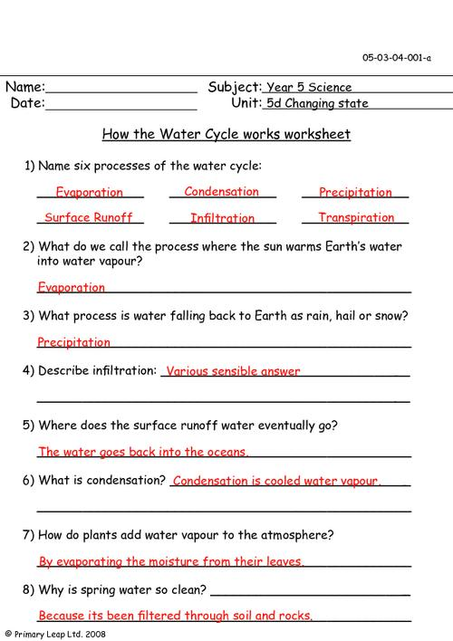 Water Cycle Worksheet Answers Worksheets For All
