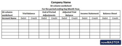 What Is A 10 Column Worksheet In Accounting