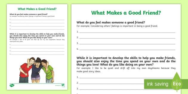 What Makes A Good Friend  Worksheet   Activity Sheet