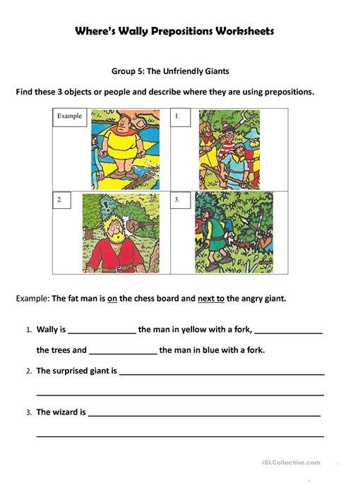Where's Wally  Preposition Worksheets Worksheet