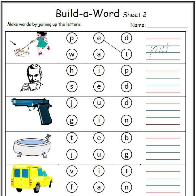 Word Building Worksheets For Kindergarten Worksheets For All