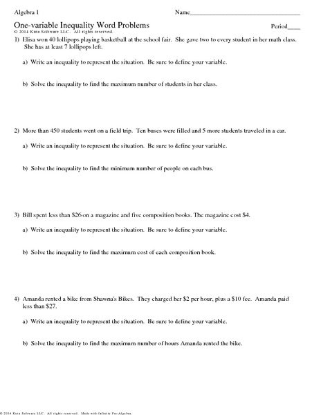 Word Problem Inequalities Worksheet With Answers Worksheets For