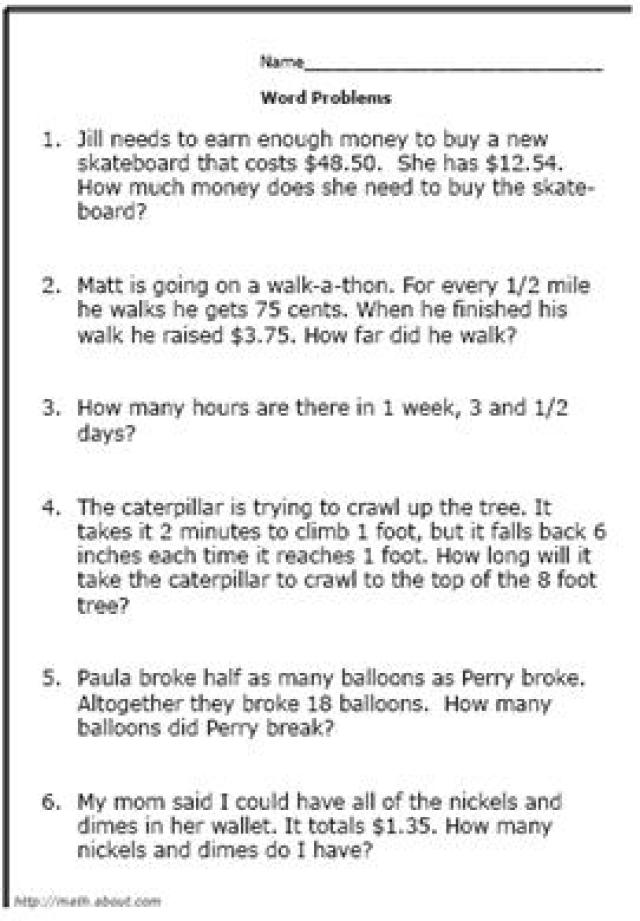 Word Problem Math Worksheets The Best Worksheets Image Collection