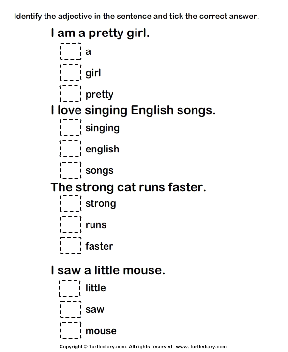 Worksheet Adjectives For Grade 1
