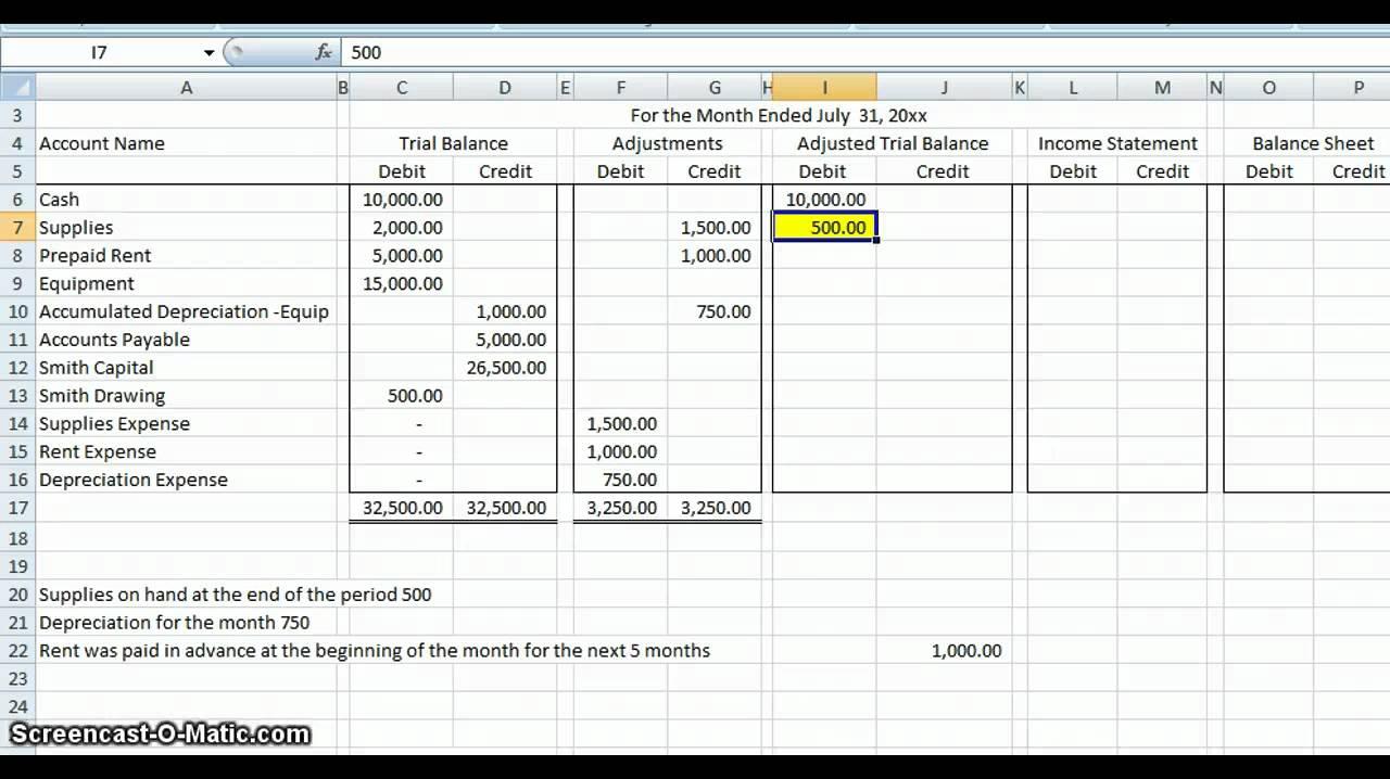 Worksheet Example Youtube Accounting