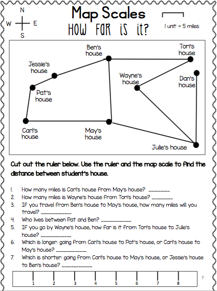 Worksheet Map Scale 3rd Grade Inspirational Map Scale Worksheets