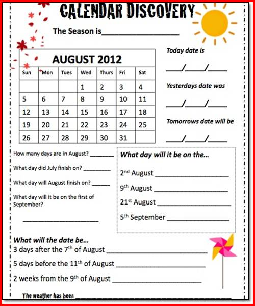 Worksheet On Calendars For 3rd Grade