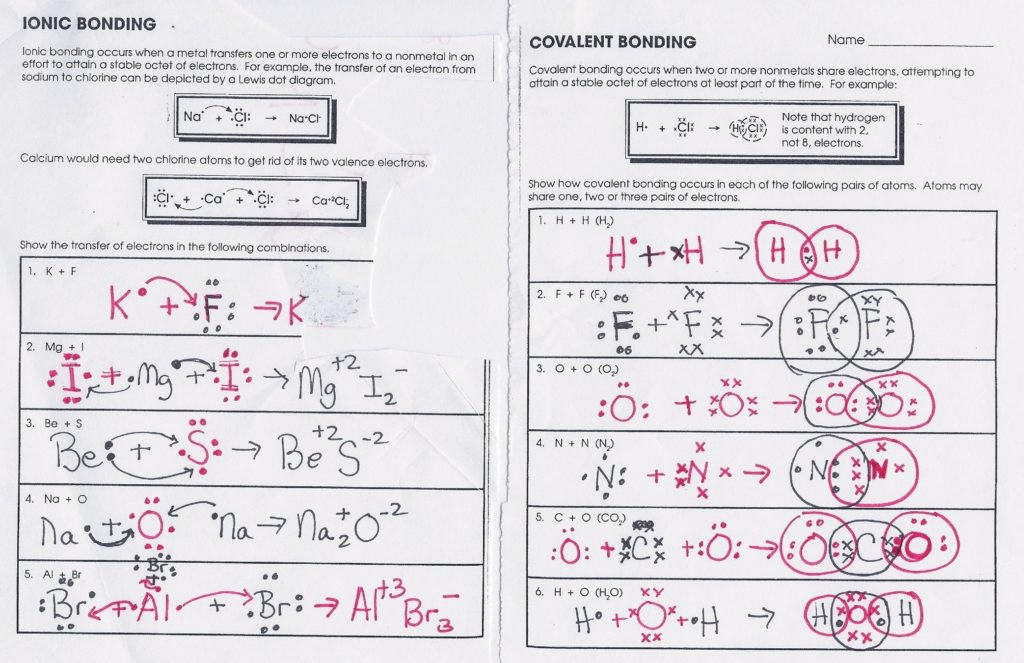 Worksheet On Chemical Bonding Answers