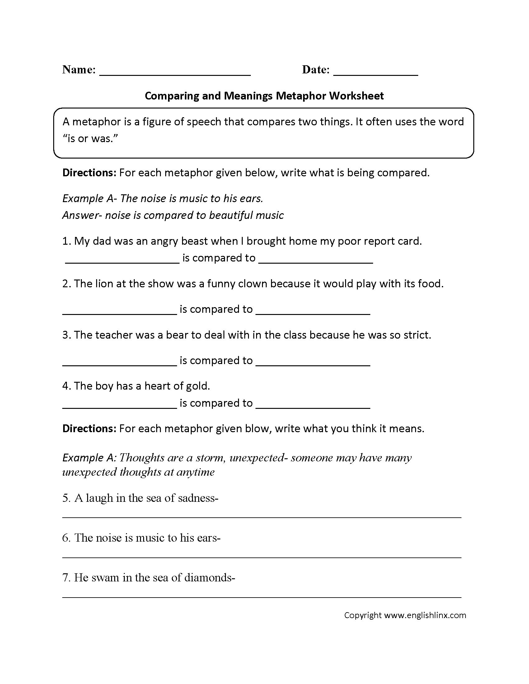 Worksheet On Metaphors For 5th Grade
