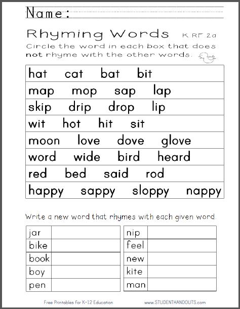 Worksheet Rhyming Words Grade 1