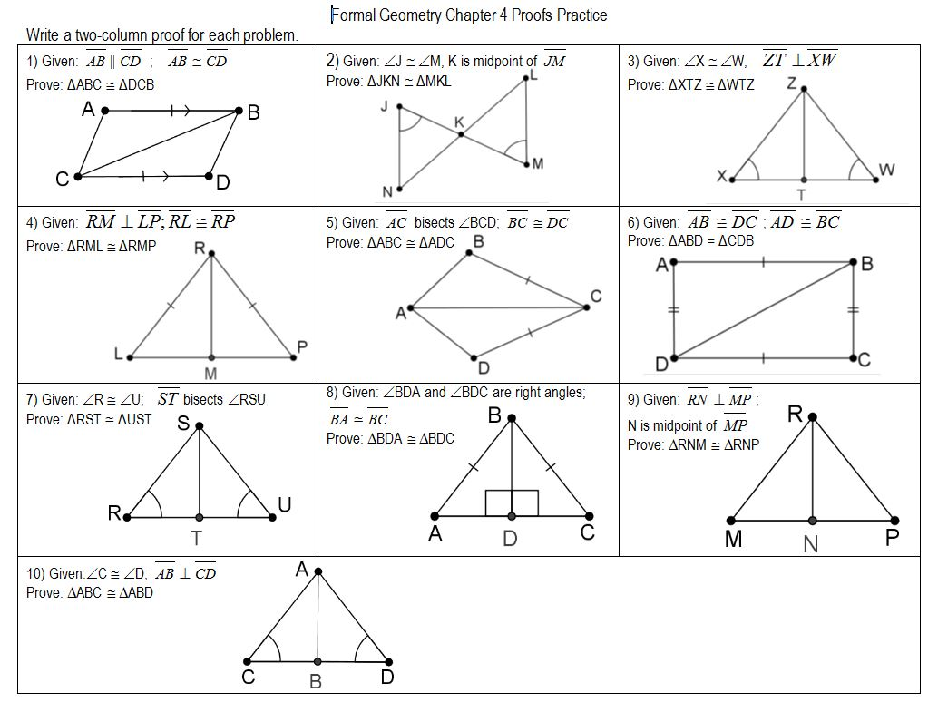 Worksheet Triangle Congruence Proofs