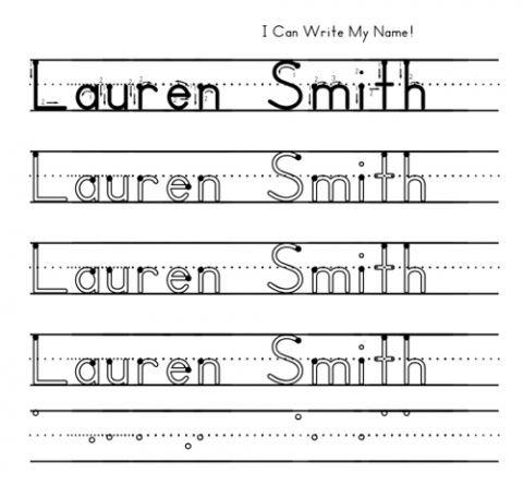Worksheet Writing Name