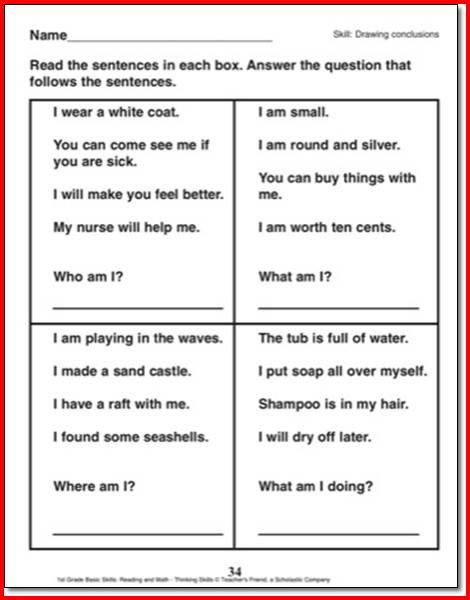 Worksheets Drawing Conclusions