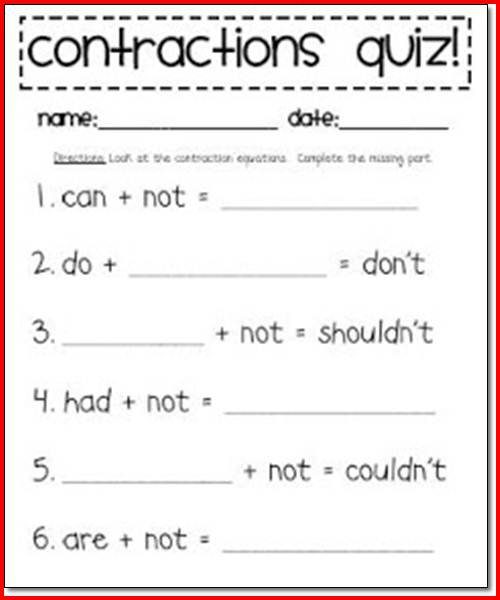 Worksheets For First Grade Contractions