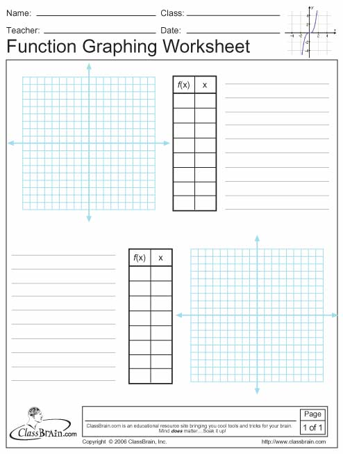 Worksheets For Functions And Graphing