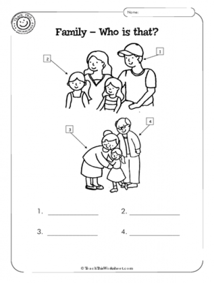 Worksheets For Kindergarten On My Family