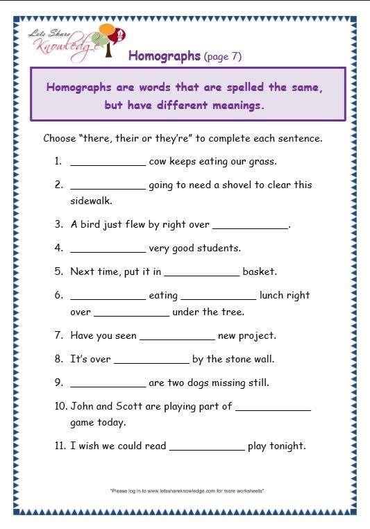 Worksheets Grade 7 Grammar