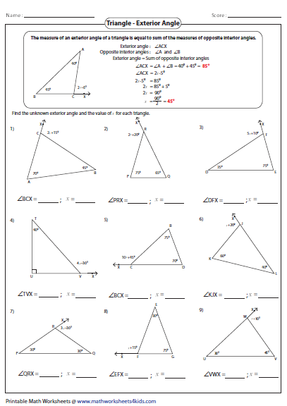 Worksheets Missing Angles Triangles