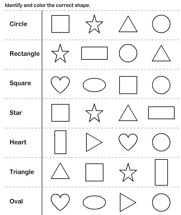 Worksheets With Shapes For Kindergarten