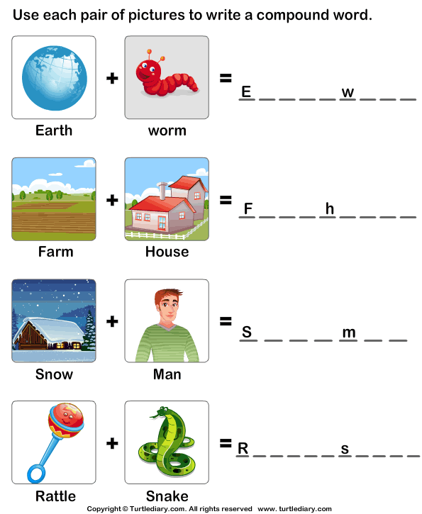 Write A Compound Word Using Two Words Worksheet