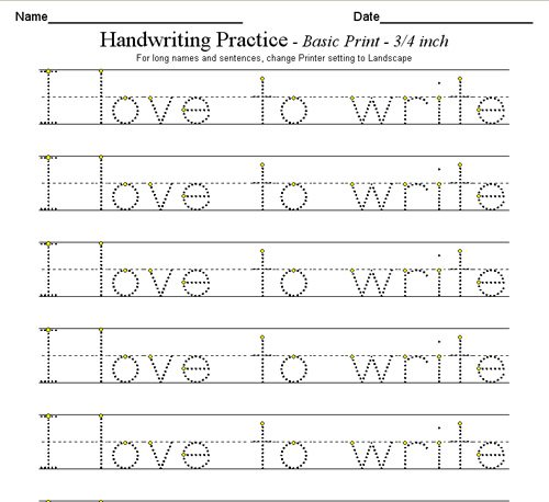 Writing Practice For Kindergarten Free