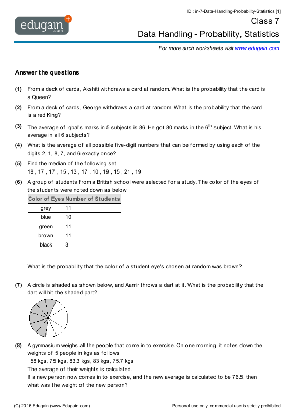 Year 7 Math Worksheets And Problems  Data Handling