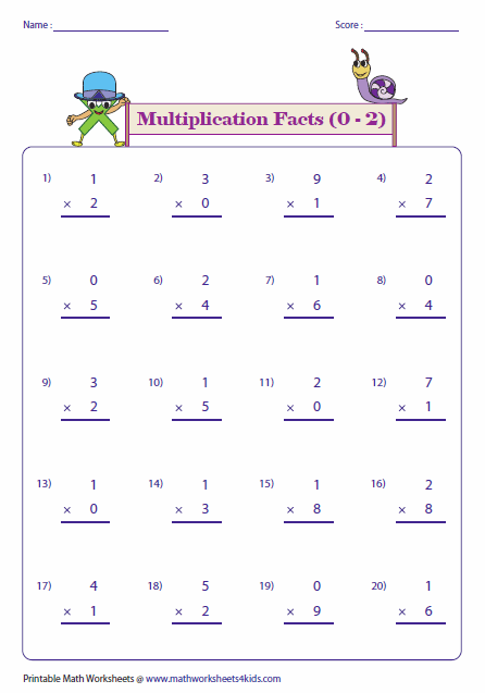 0 1 2 5 10 Multiplication Worksheets Multiplication Facts