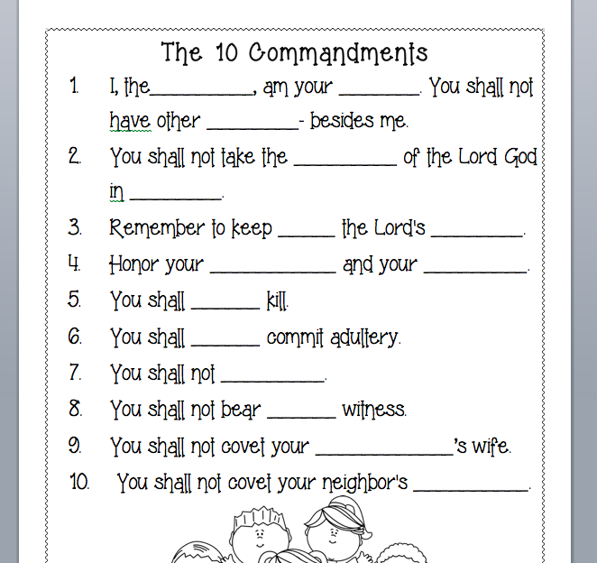10 Commandments Activity Sheets Free Printable Ten Commandments