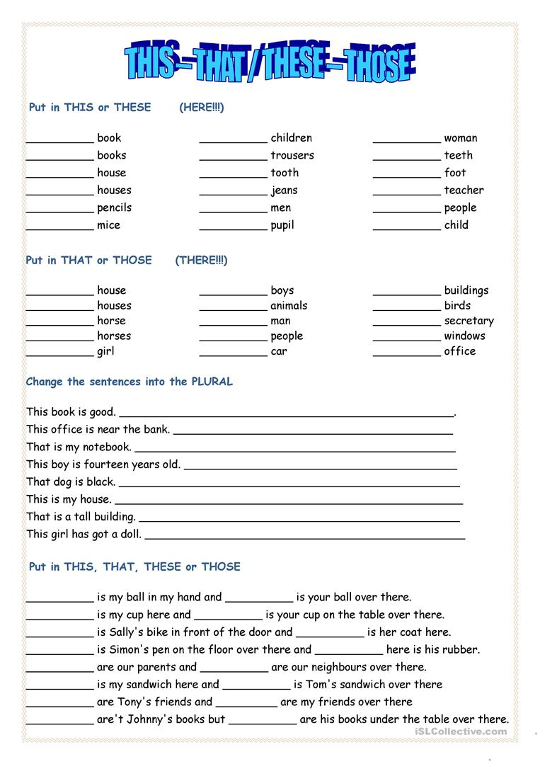 182 Free Esl These Worksheets