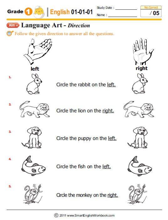 1 Grade English Worksheets