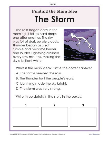 1st Or 2nd Grade Main Idea Worksheet About Storms