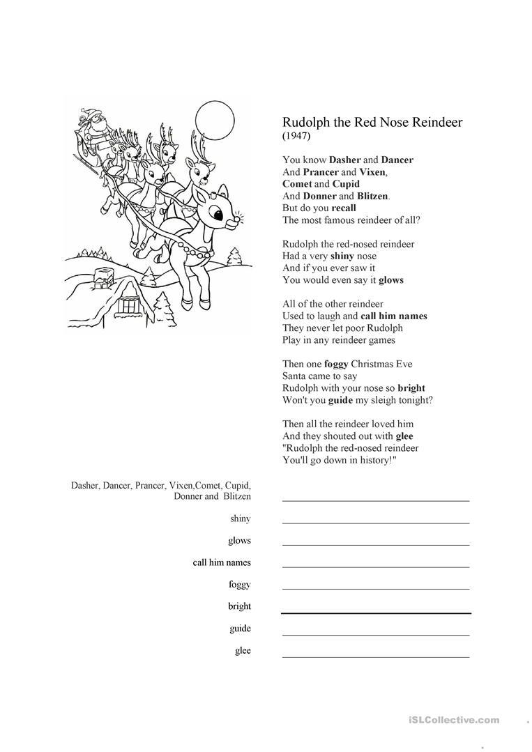 24 Free Esl Reindeer Worksheets