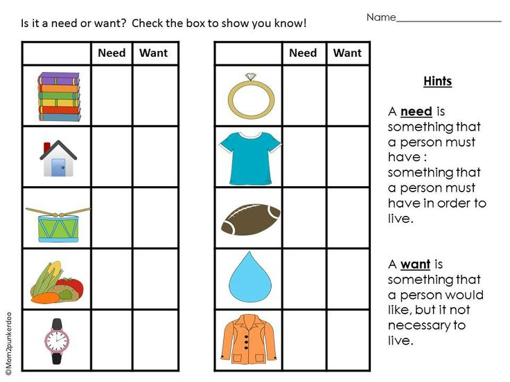 Free Needs And Wants Worksheets For Kindergarten