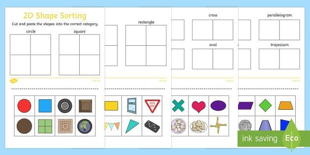 2d Shape Sorting Worksheet   Activity Sheet