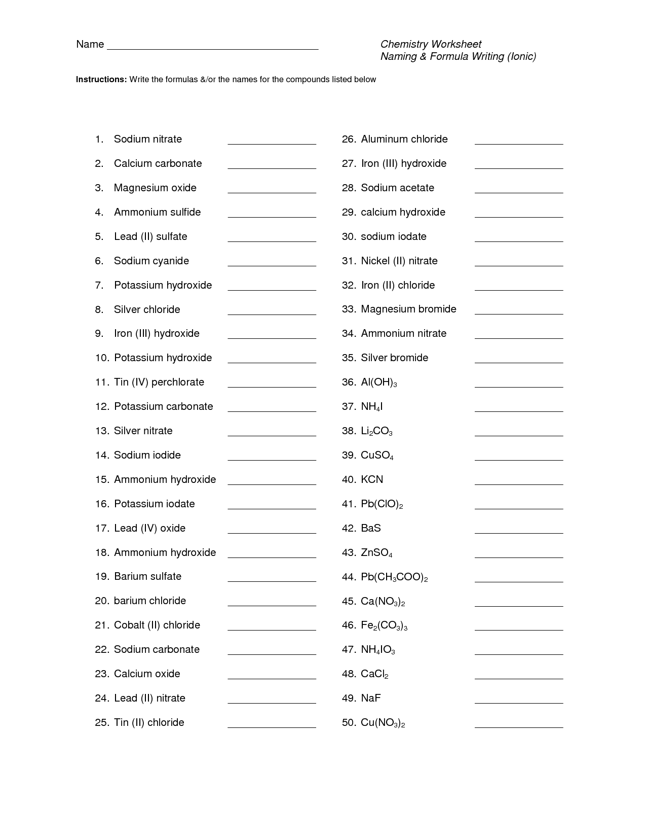 43 Binary Ionic Compounds Worksheet Answers, Writing And Naming