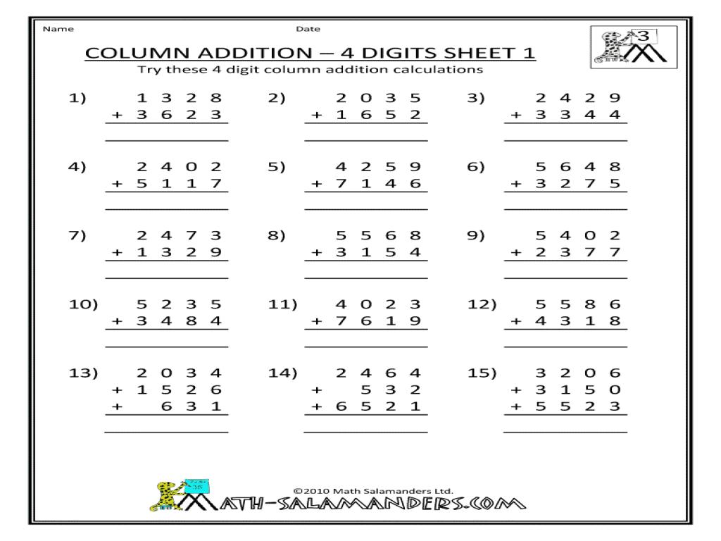 4 Digit Addition Worksheets Free The Best Worksheets Image