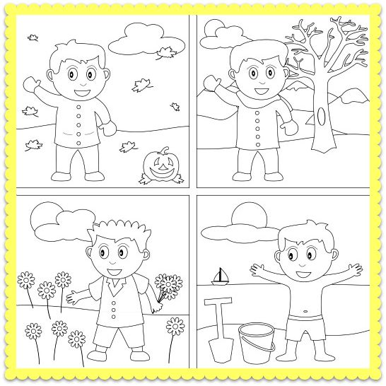 4 Seasons Coloring Pages Printable Image Result For Four Seasons