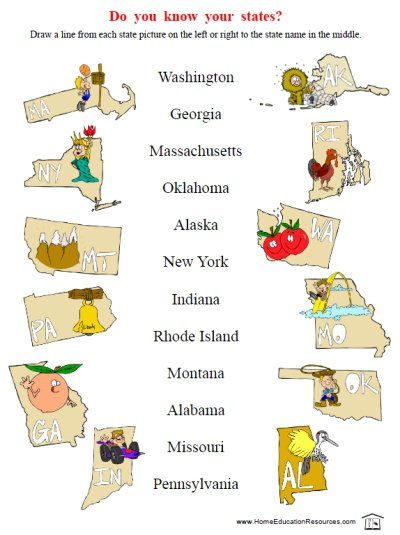 50 States Worksheets – Home Education Resources