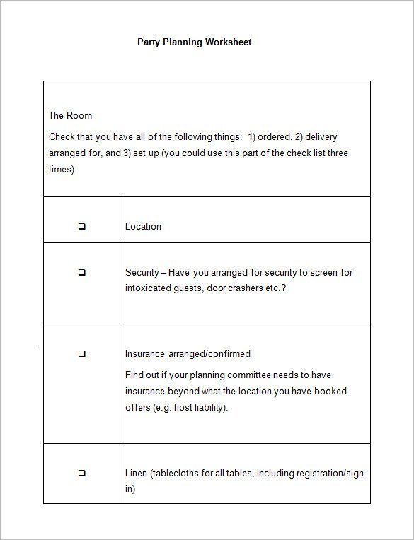 5+ Event Planning Worksheet Templates – Free Word Documents