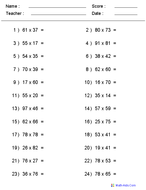 5th Grade Worksheets 3rd Grade Multiplication And Division