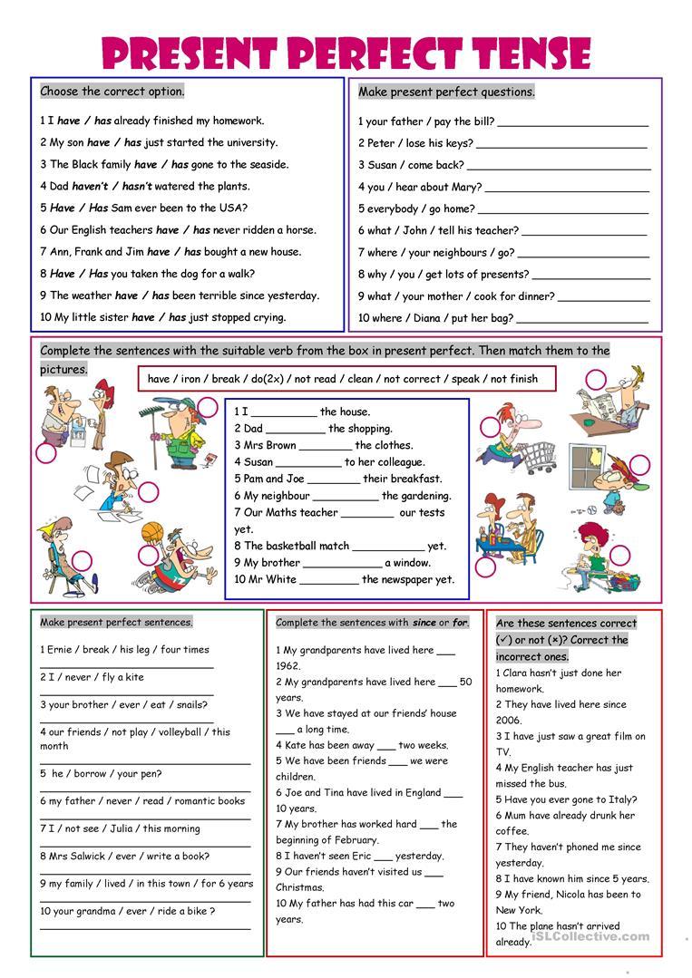 743 Free Esl Present Perfect Worksheets