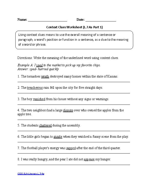 7th Grade Language Arts Worksheets 7th Grade Ela Worksheets