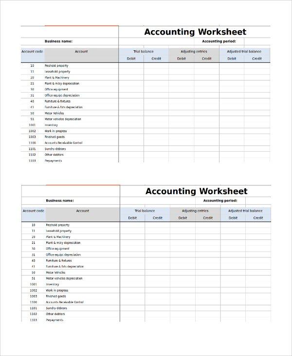 9+ Accounting Worksheet Templates