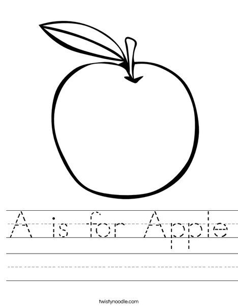 A Is For Apple Worksheet From Twistynoodle Com